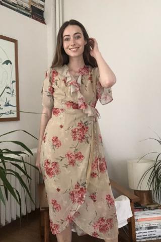 Trendyol Camel Flower Patterned Cruise Dress dámské 34