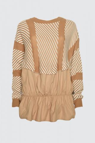 Trendyol Camel Jacquard Weaving Garnili Knit Sweater dámské S