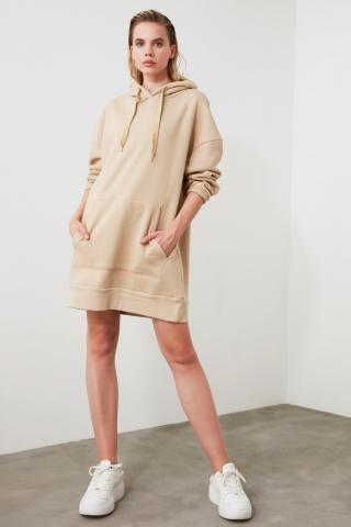 Trendyol Camel Long Oversize Back Printed Hooded Knitted Sweat Dress dámské S