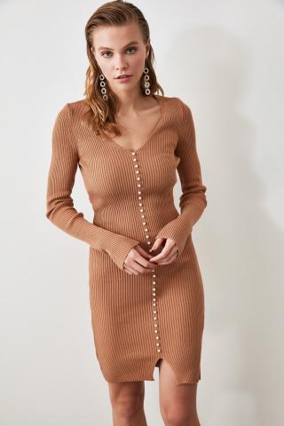 Trendyol Camel Pearl Detailed Knitwear Dress dámské Mink M