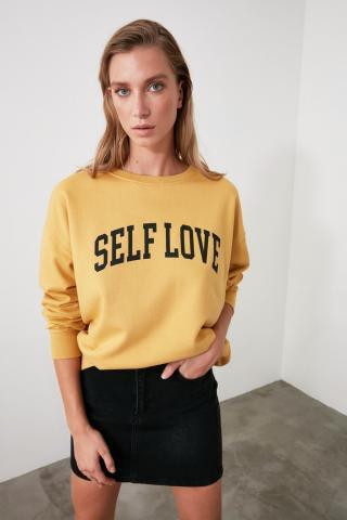 Trendyol Camel Printed Knitted Sweatshirt dámské S