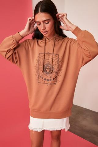 Trendyol Camel Printed Long Overisze Knitted Sweatshirt dámské XS