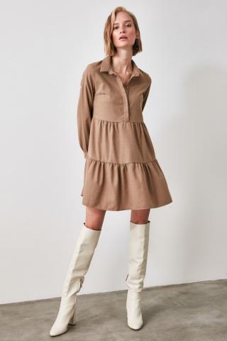 Trendyol Camel Shirt Collar Dress dámské 42