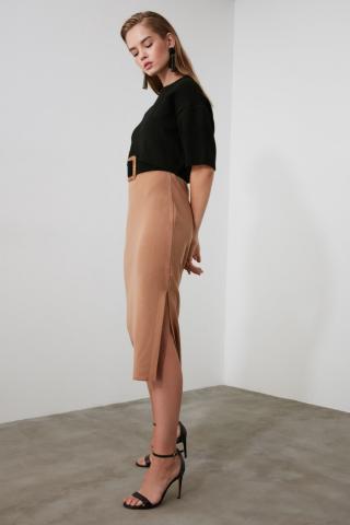 Trendyol Camel Slit KnitWear Skirt dámské S