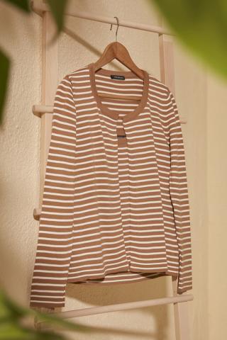 Trendyol Camel Striped Blouse-Cardigan Knitwear Team dámské M