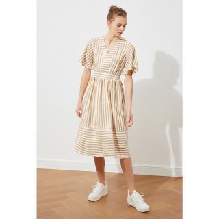 Trendyol Camel Striped Dress dámské 34
