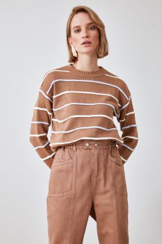 Trendyol Camel Striped Knitwear Sweater dámské S