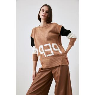 Trendyol Camel Summer Detailed Knitwear Sweater dámské S