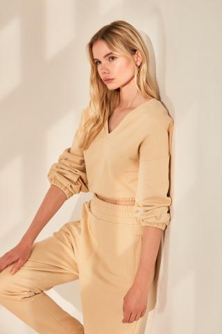 Trendyol Camel V Collar Basic Knitted Sweatshirt dámské XS