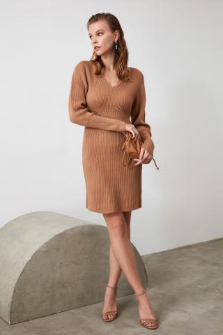 Trendyol Camel V Collar Knitwear Dress dámské M