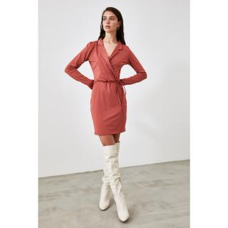 Trendyol Cinnamon Binding Detailed Knitted Dress dámské S