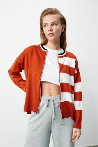 Trendyol Cinnamon Color Block Zipper Knit Cardigan dámské S
