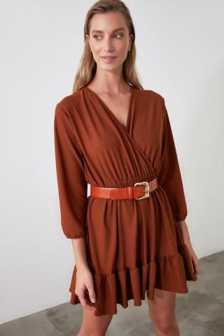Trendyol Cinnamon Cruise Collar Flywheel Knitted Dress dámské S