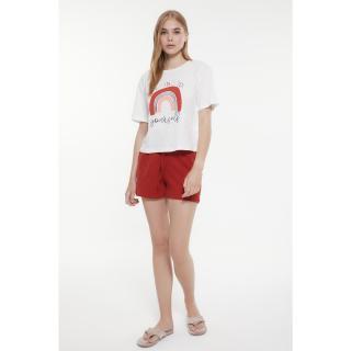 Trendyol Cinnamon Printed Knitted Pajamas Set dámské XS