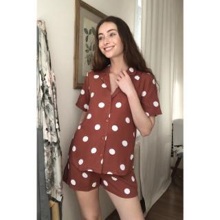 Trendyol Cinnamon Printed Woven Pyjamas Set dámské 36