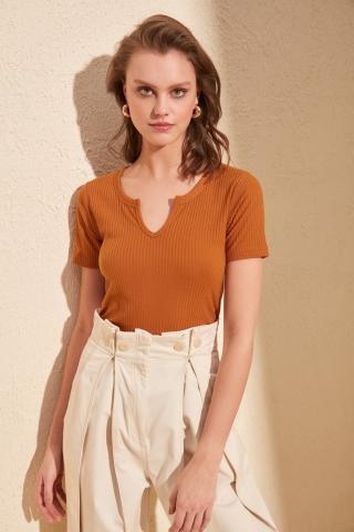 Trendyol Cinnamon V Collar Fitilli Knitted Blouse dámské XS