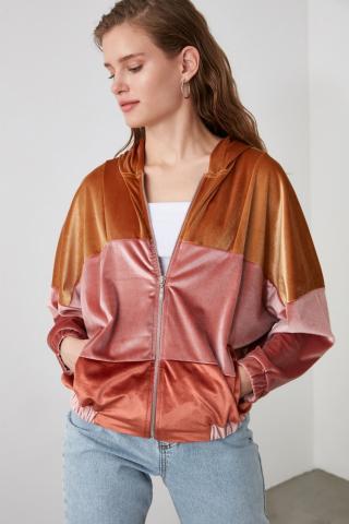 Trendyol Cinnamon Velvet Knitted Jacket dámské XS