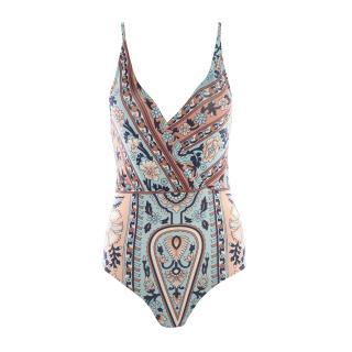 Trendyol Colorful Ethnic Pattern V-Neck Swimsuit dámské Very colorful 34