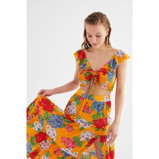 Trendyol Colorful Flower Patterned Viscose Bottom-Top Set dámské Very colorful 34