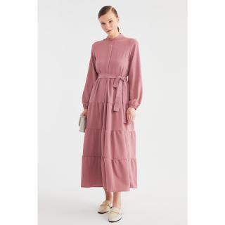 Trendyol Dried Rose Belt Detailed Woven Dress dámské 36