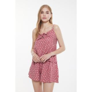 Trendyol Dried Rose Polka Dot Woven Pajamas Set dámské 34