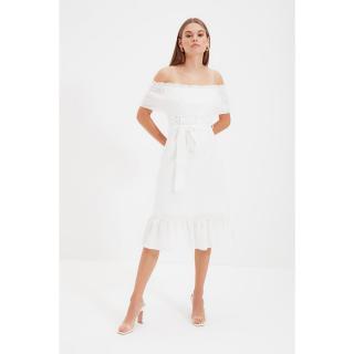 Trendyol Ecru Shoulder Detailed Dress dámské Other 38