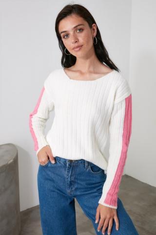 Trendyol Ekru Arm Detailed Knitwear Sweater dámské Ecru M