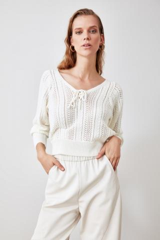Trendyol Ekru Binding Detailed Ajurlu Knitwear Sweater dámské Ecru S