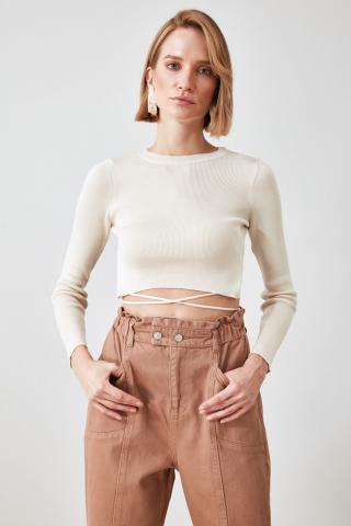 Trendyol Ekru Clamping Detailed Knitwear Sweater dámské Ecru L