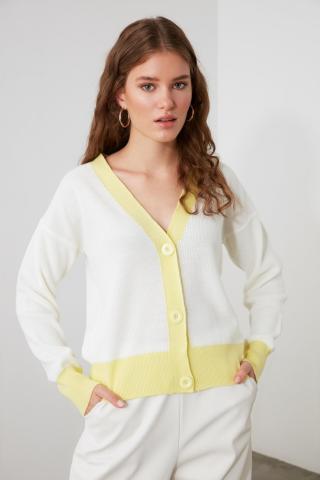 Trendyol Ekru Color Block Button Knitwear Cardigan dámské Ecru S