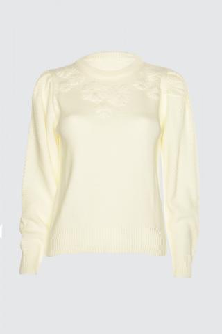 Trendyol Ekru Embroidered Knit sweater dámské Ecru L