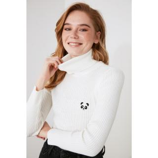 Trendyol Ekru Embroidered Knitwear Sweater dámské Ecru S