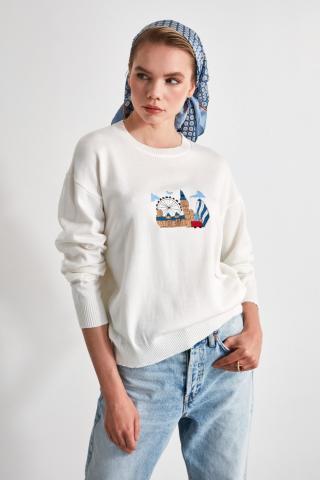 Trendyol Ekru Embroidery Detailed Knitwear Sweater dámské Ecru S