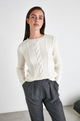 Trendyol Ekru Hair Braided Knitwear Sweater dámské Ecru M