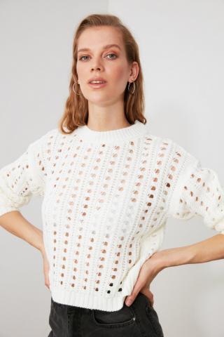 Trendyol Ekru KnitTed Detailed Knitwear Sweater dámské Ecru S
