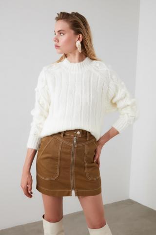 Trendyol Ekru Knitting Detailed Knitwear Sweater dámské Ecru M