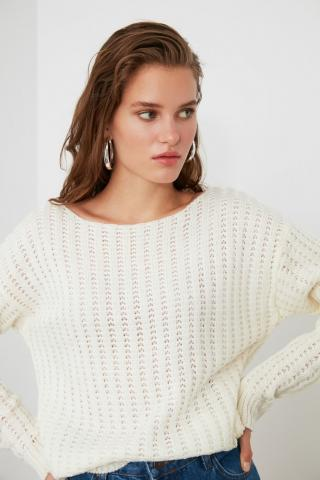 Trendyol Ekru Knitting Detailed Knitwear Sweater dámské Ecru M