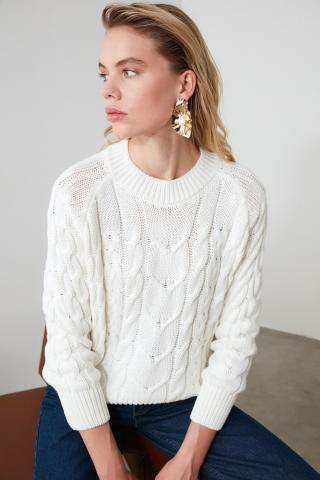 Trendyol Ekru Knitting Detailed Knitwear Sweater dámské Ecru S