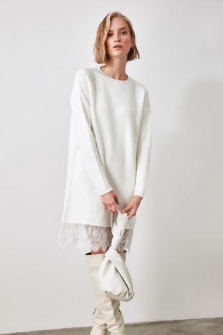 Trendyol Ekru Knitwear Sweater Dress dámské Ecru S