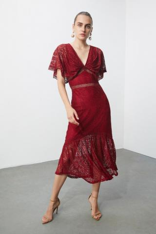 Trendyol Ekru Lace Accessory Detailed Dress dámské Burgundy 34