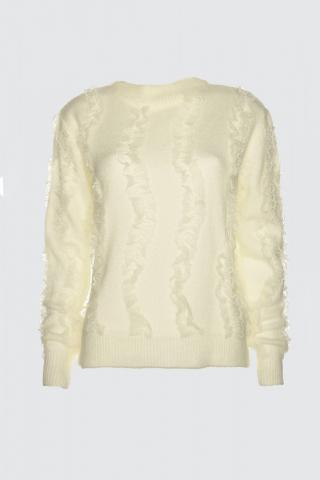 Trendyol Ekru Processing Detailed Knitwear Sweater dámské Ecru S