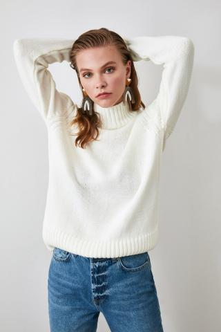Trendyol Ekru Right Collar Knit Sweater dámské Ecru M