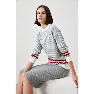 Trendyol Ekru Striped Knitwear Sweater dámské Ecru S