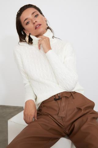 Trendyol Ekru ThroatEd Hair Braided Knitwear Sweater dámské Ecru M