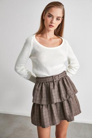 Trendyol Ekru U Collar Knitwear Sweater dámské Ecru L