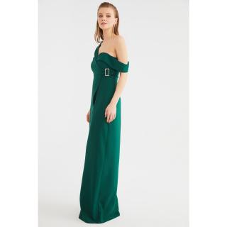 Trendyol Emerald Green Jacket Collar Evening Dress & Graduation Dress dámské 34