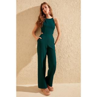 Trendyol Emerald Green Waist-Dandous Jumpsuit dámské Zümrüt Yeşili 34
