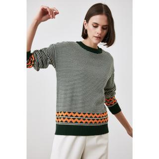 Trendyol Emerald Striped Knitwear Sweater dámské Zümrüt Yeşili S