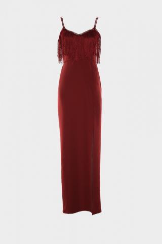 Trendyol Evening Dress with Burgundy Tassel Detailed Slit & Graduation Dress dámské 34