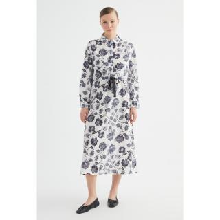 Trendyol Floral Patterned Cotton Dress dámské Ecru 36